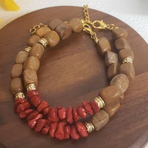 💕2 pack Brown stone red coral bracelets